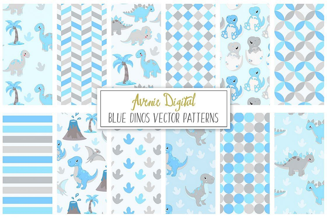 Cute Blue Dinosaur Seamless Digital Paper and Vector Patterns example image 1