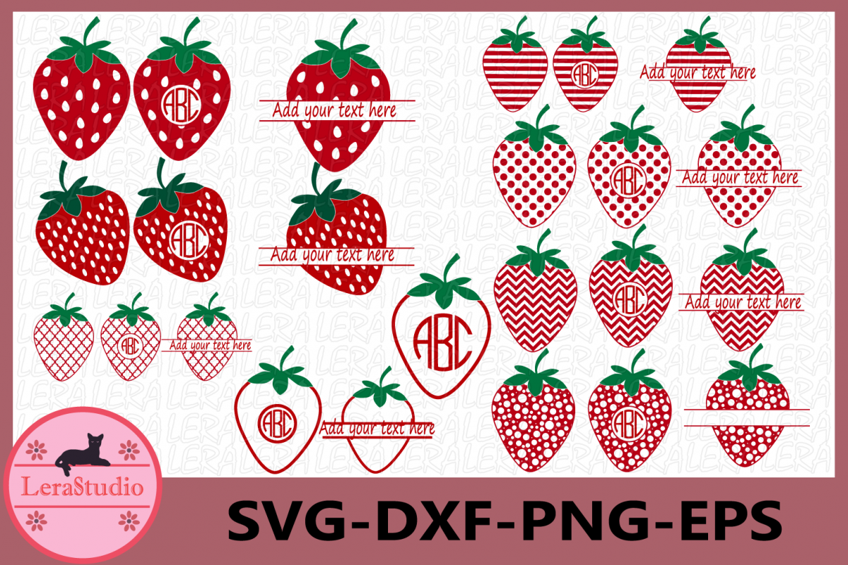 Strawberry SVG, Strawberry Monogram Svg, Strawberry svg example image 1