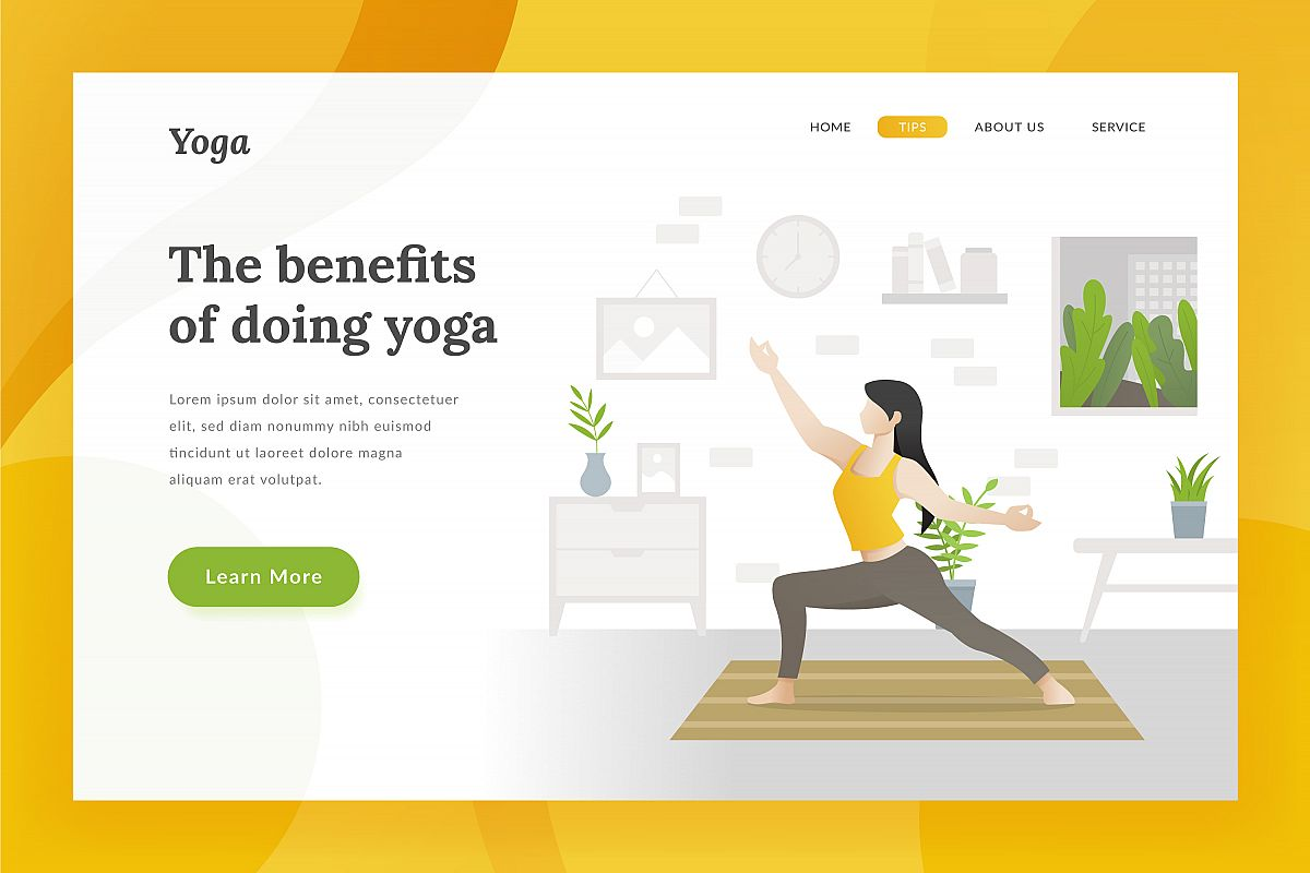 Yoga landing page illustration example image 1