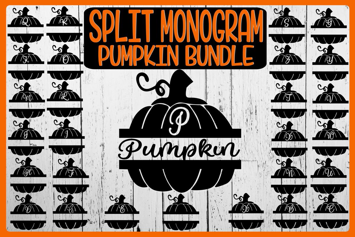 Pumpkin - Split Monogram - SVG PNG EPS DXF-26 Designs example image 1