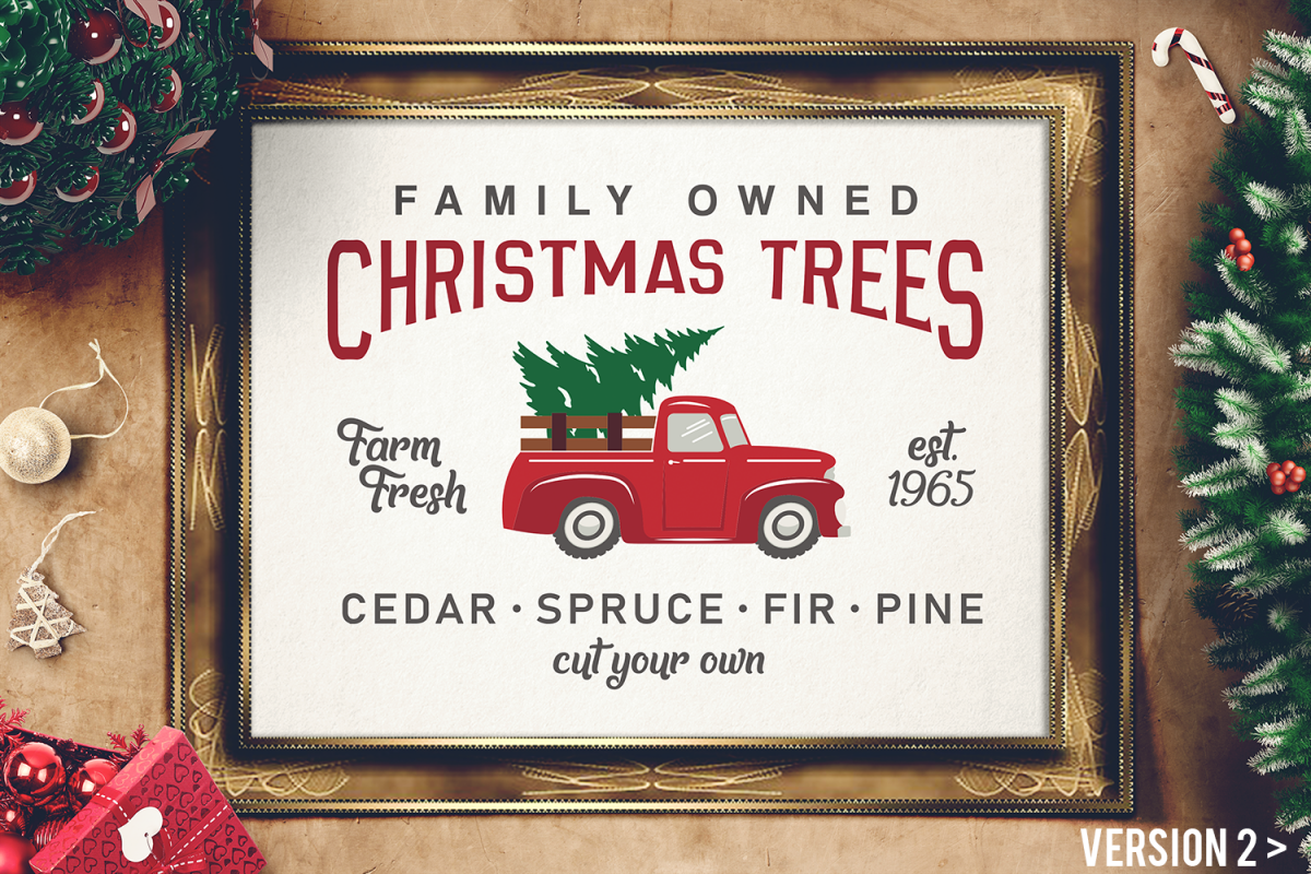Vintage Christmas.Vintage Christmas Tree Truck Sign Svg Magnolia Tree Farms