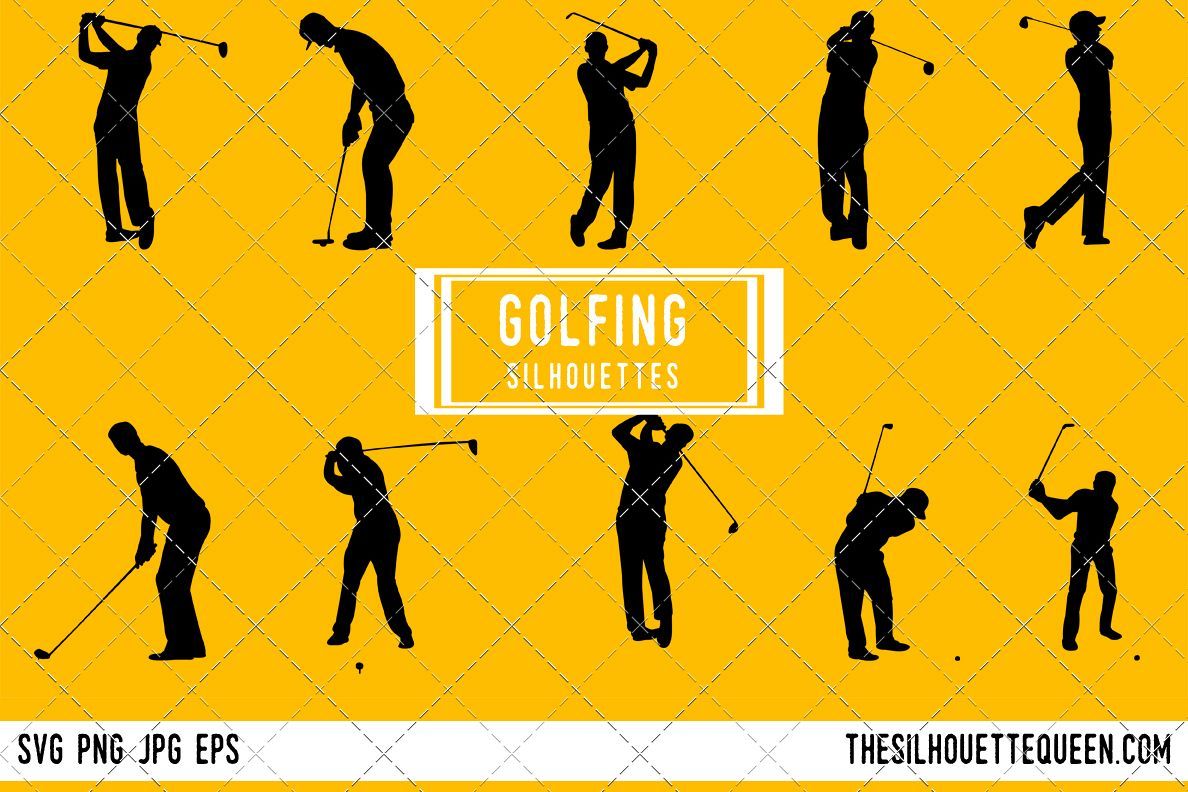 Golfing Silhouette Male Female Golfer Design Bundles