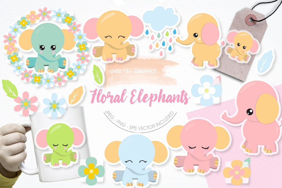 Floral Elephants graphics and illustrations example image 1