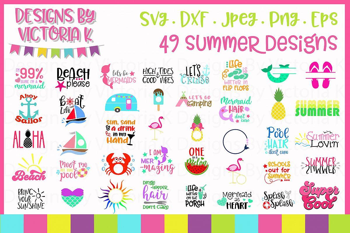 Summer svg Bundle, 49 Summer cut files,SVG, DXF, PNG example image 1