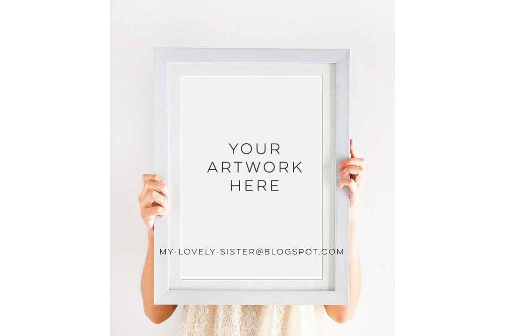 Simple wood frame mock up, Empty White Wooden Frame, White Wood ...
