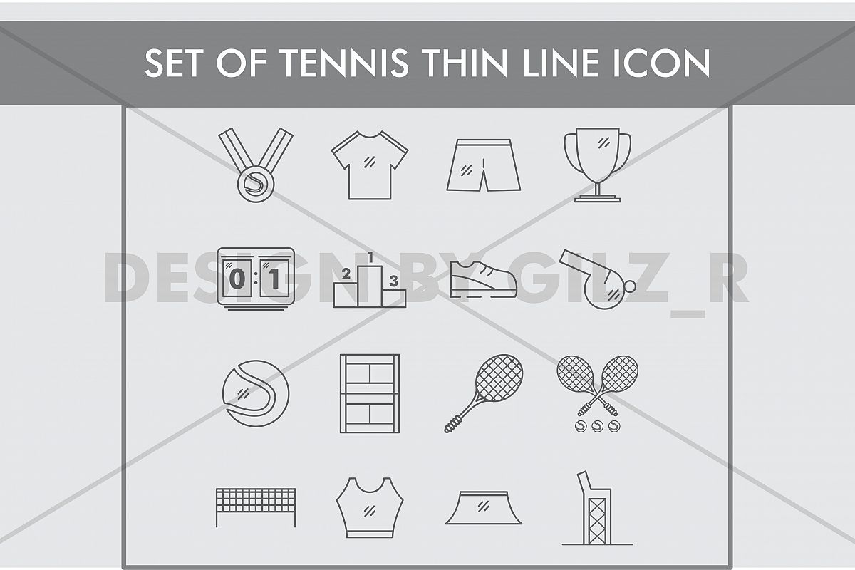 Set of Tennis Thin Line Icons example image 1