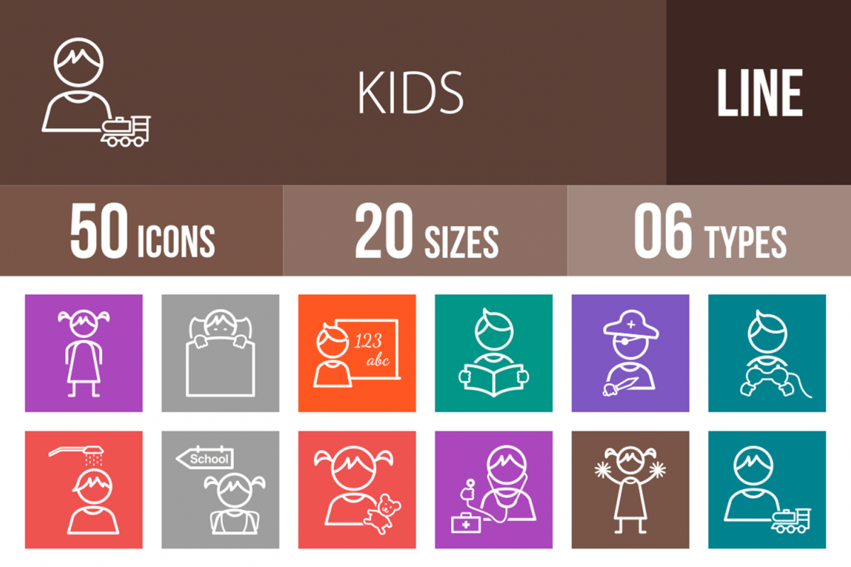 50 Kids Line Multicolor B/G Icons example image 1