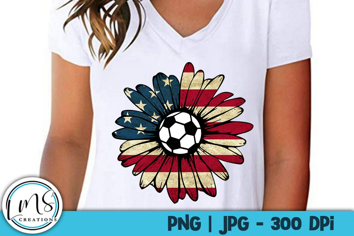 Patriotic Sunflower - Soccer PNG, JPG, Sublimation, Print example image 1