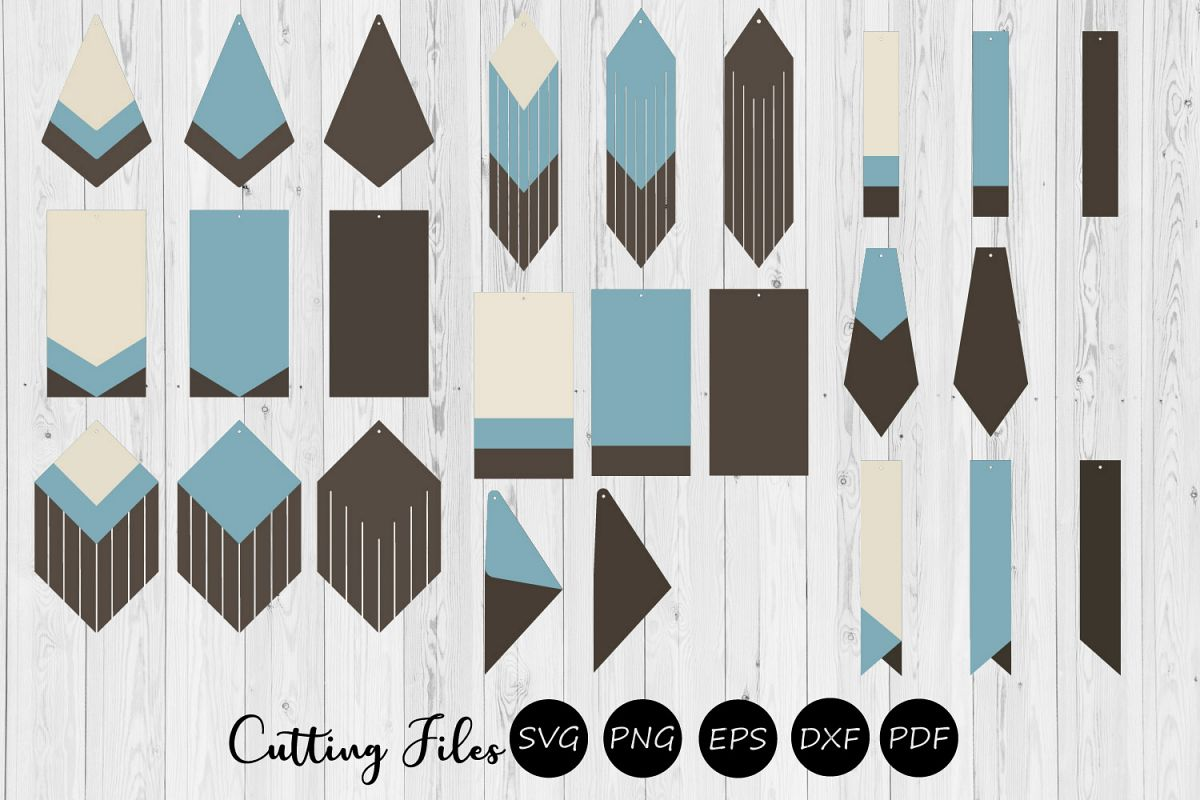 9 Stacked Geometric & Fringe Earrings | SVG cutting files | example image 1