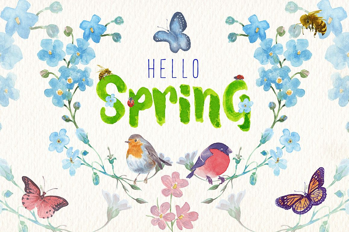 Watercolor spring clipart set (65719) | Illustrations ...