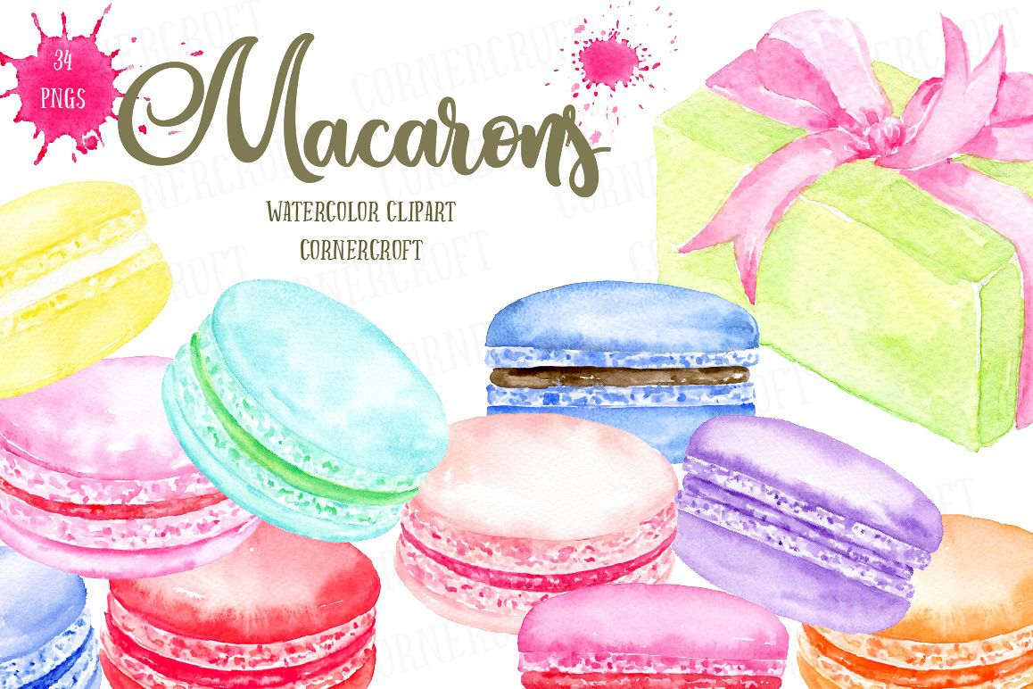 Watercolor Macaron Illustration example image 1