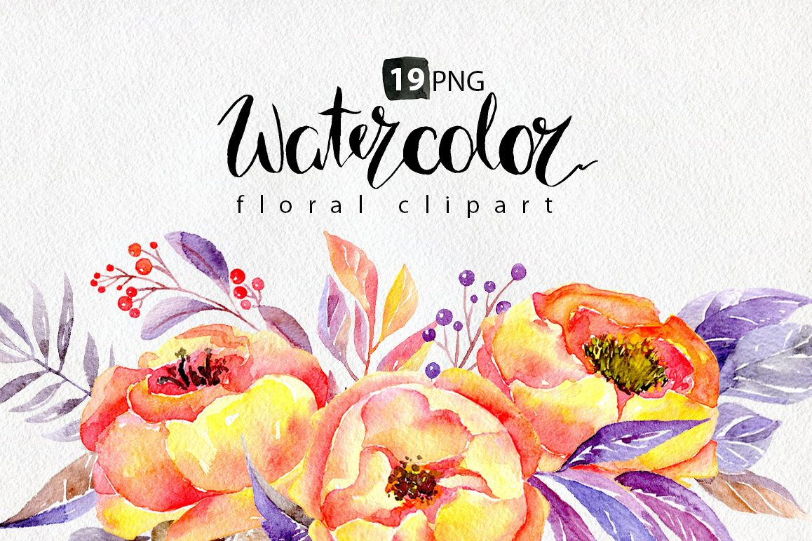 Watercolor yellow & violet flowers example image 1
