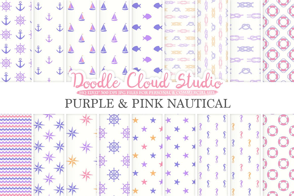Purple and Pink Nautical digital paper Orange Seal patterns Ocean Steering wheel Sea waves Anchor background Personal & Commercial Use example image 1