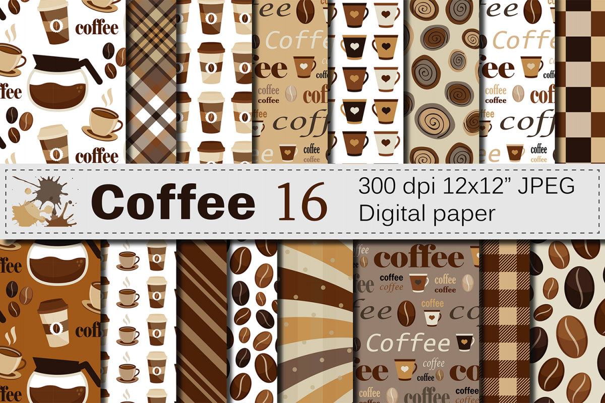 Coffee Digital paper pack / Coffee beans pattern / Coffee backgrounds / Brown Scrapbooking paper example image 1