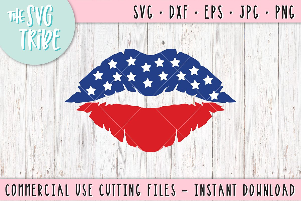 America Lips SVG, 4th of July, SVG DXF PNG EPS JPG Cutting Files example image 1