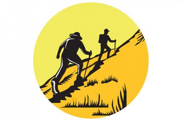 Hikers Hiking Up Steep Trail Circle Woodcut example image 1