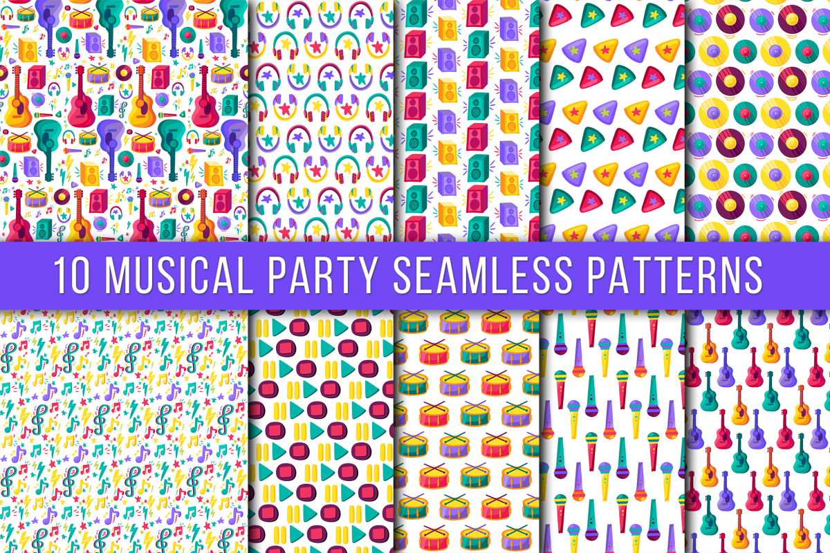 Musical Party Seamless Patterns example image 1