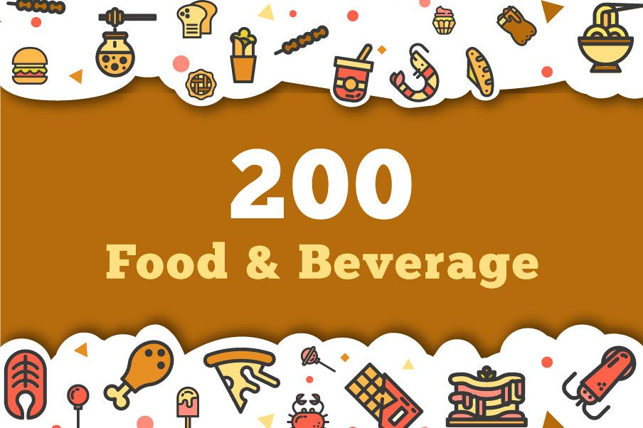 200 Food and Beverage Icon Pack example image 1