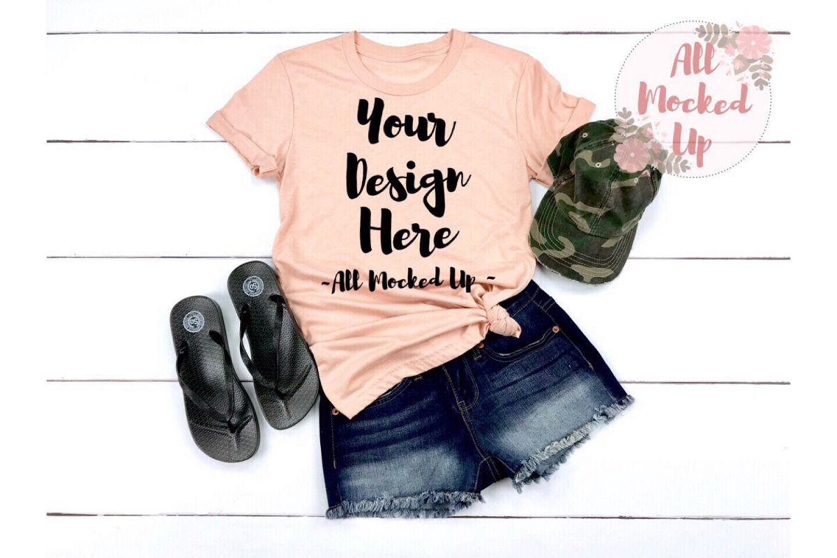 Bella Canvas 3001 / 3413 PEACH Shirt Mock Up 3/19 example image 1