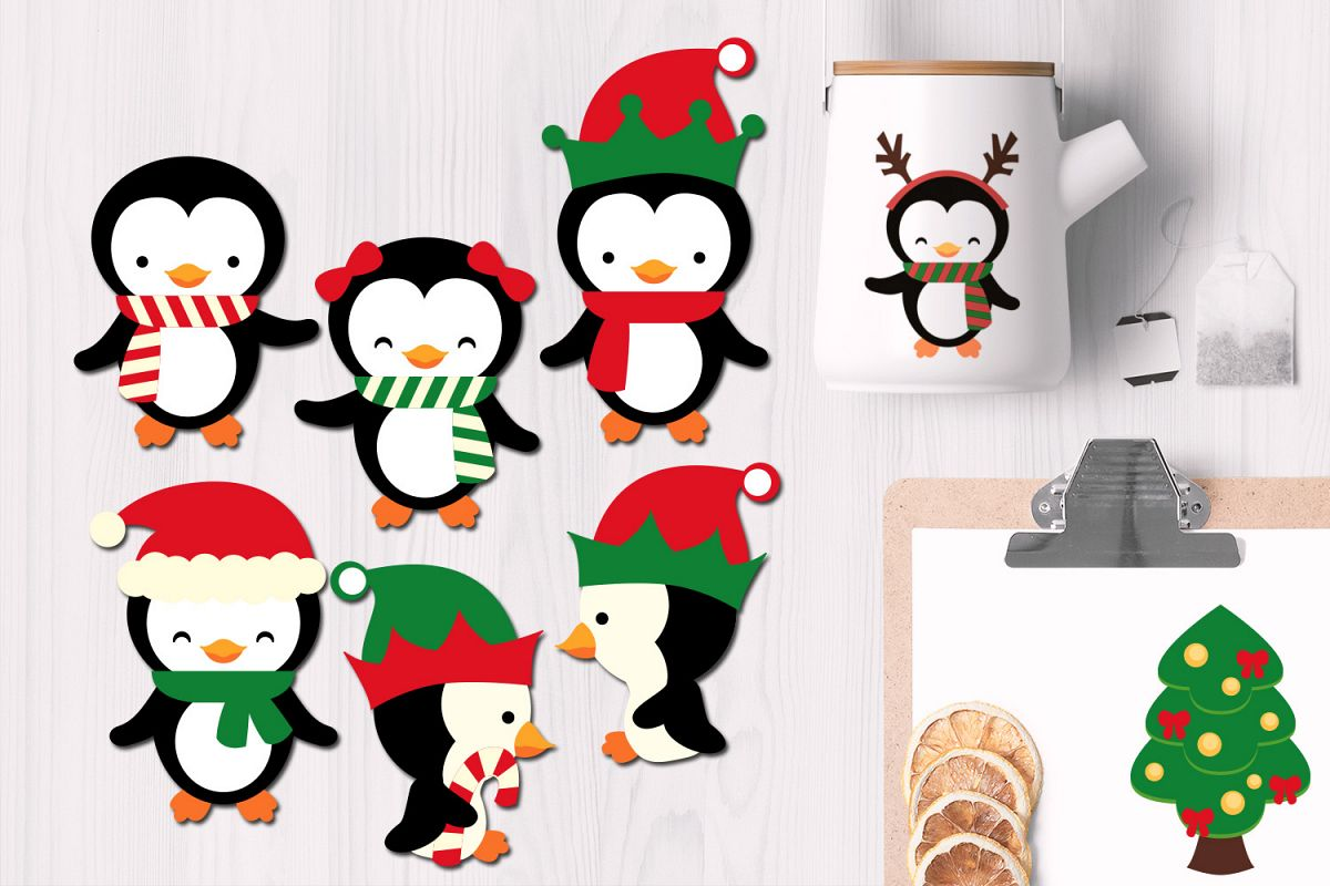 Christmas Penguins Illustrations example image 1