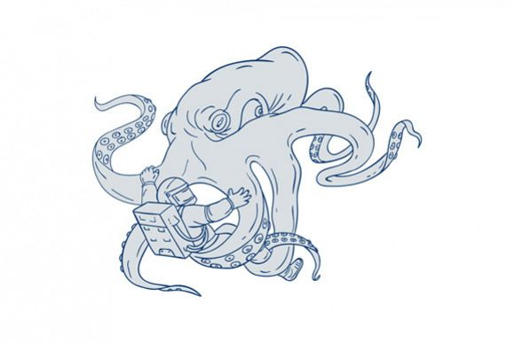 Giant Octopus Fighting Astronaut Drawing example image 1