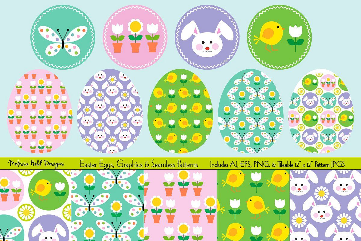 Easter Eggs, Graphics, & Seamless Patterns example image 1