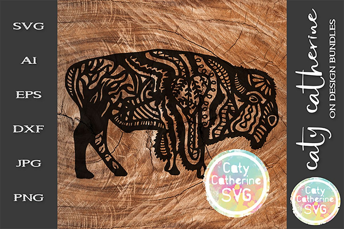 Bison Buffalo Zentangle SVG Cut File example image 1