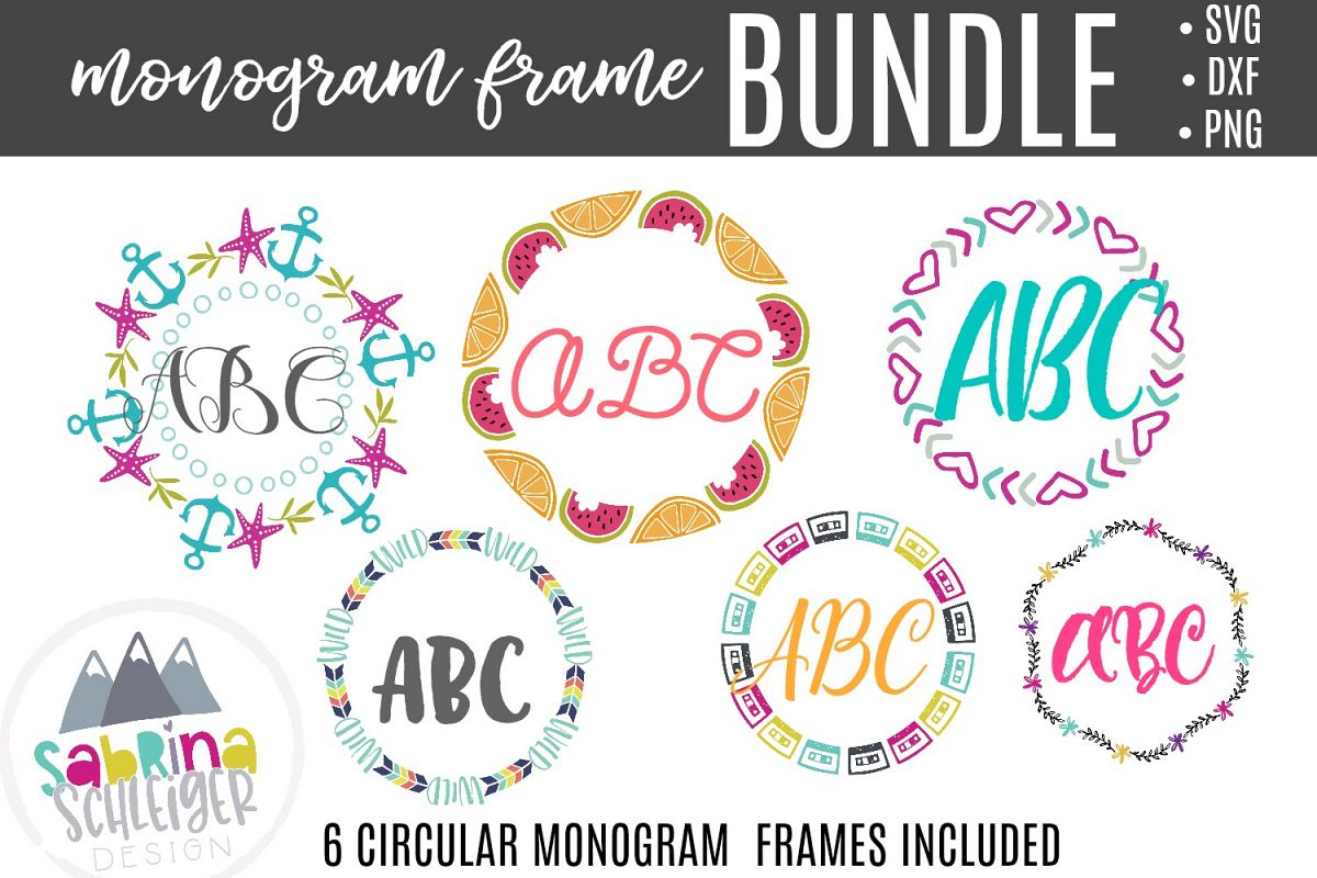 Monogram Frame Bundle - SVG Cutting Files example image 1