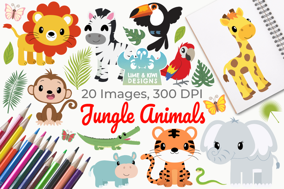 Jungle Animals Clipart, Instant Download Vector Art example image 1