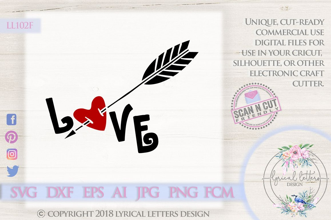 Love with Heart and Arrow Valentine's Day SVG DXF LL102F example image 1