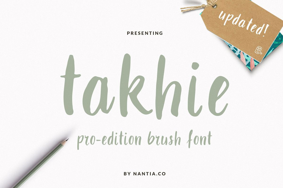 Takhie Pro | Multilingual Brush Font example image 1