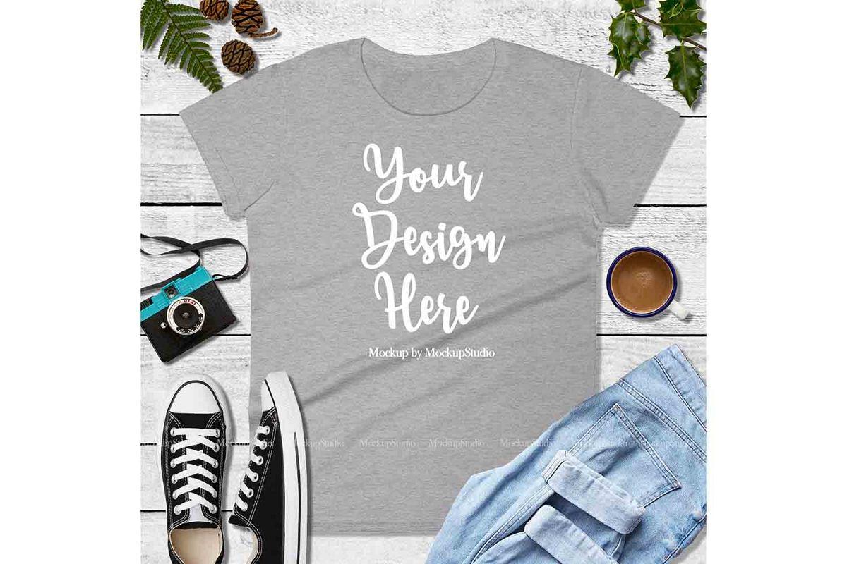 Heather Gray Shirt Mock Up, Anvil 880 Tshirt Mockup Display example image 1