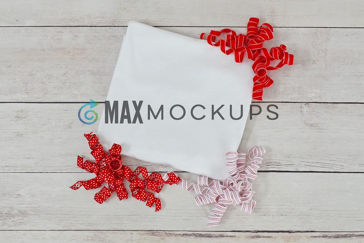 White t-shirt Mockup, Christmas or Valentines, red ribbons example image 1