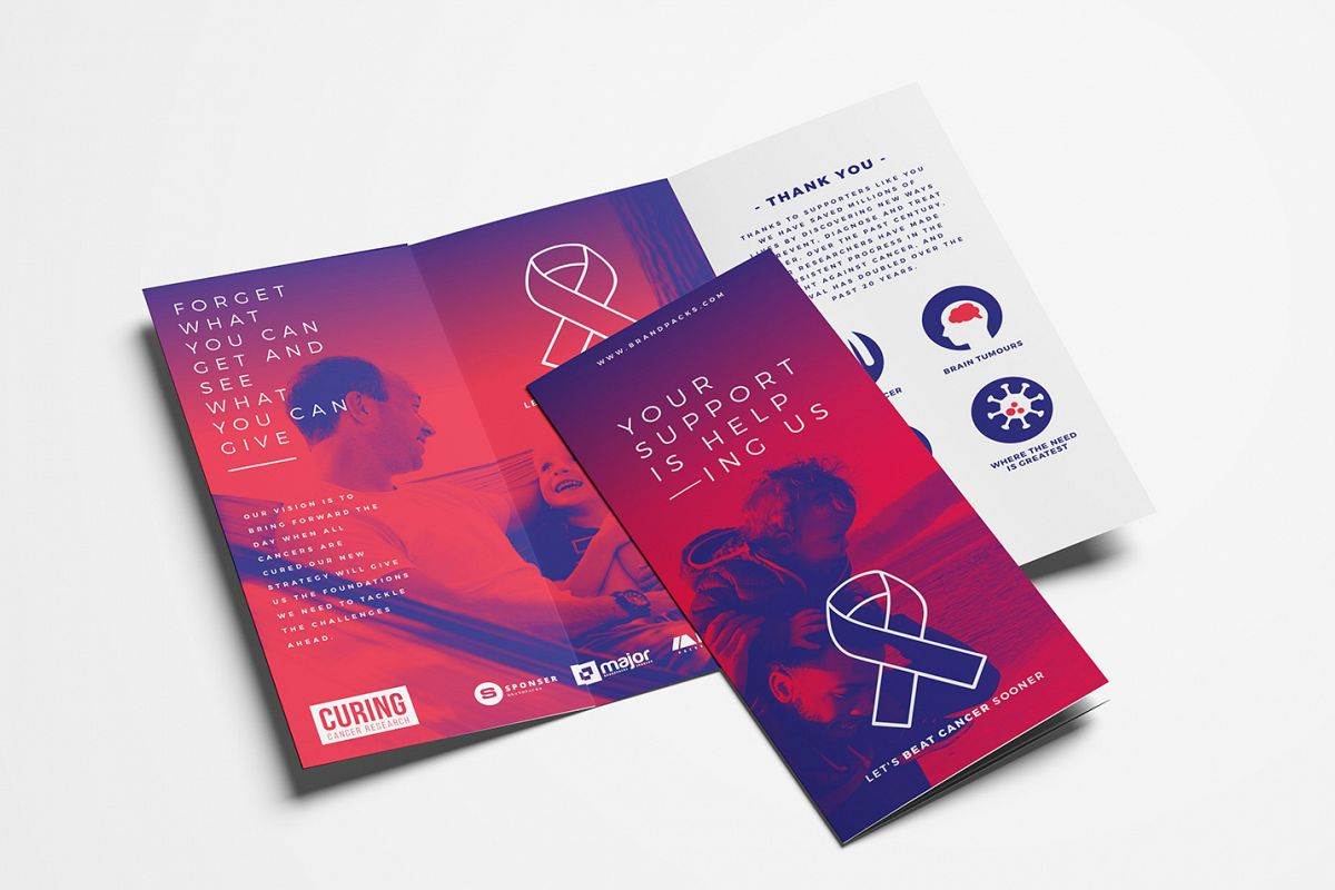 Cancer Charity Tri-Fold Brochure Template example image 1