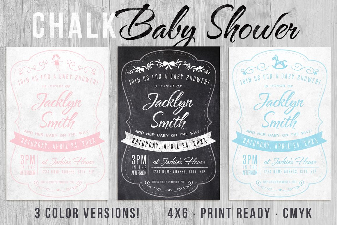 Chalk Baby Shower Invite example image 1