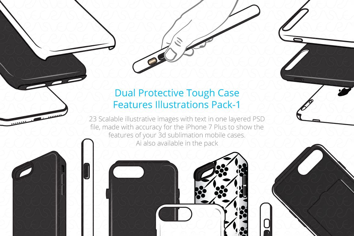 Dual Protective 3D Sublimation Tough Phone Case Feature example image 1