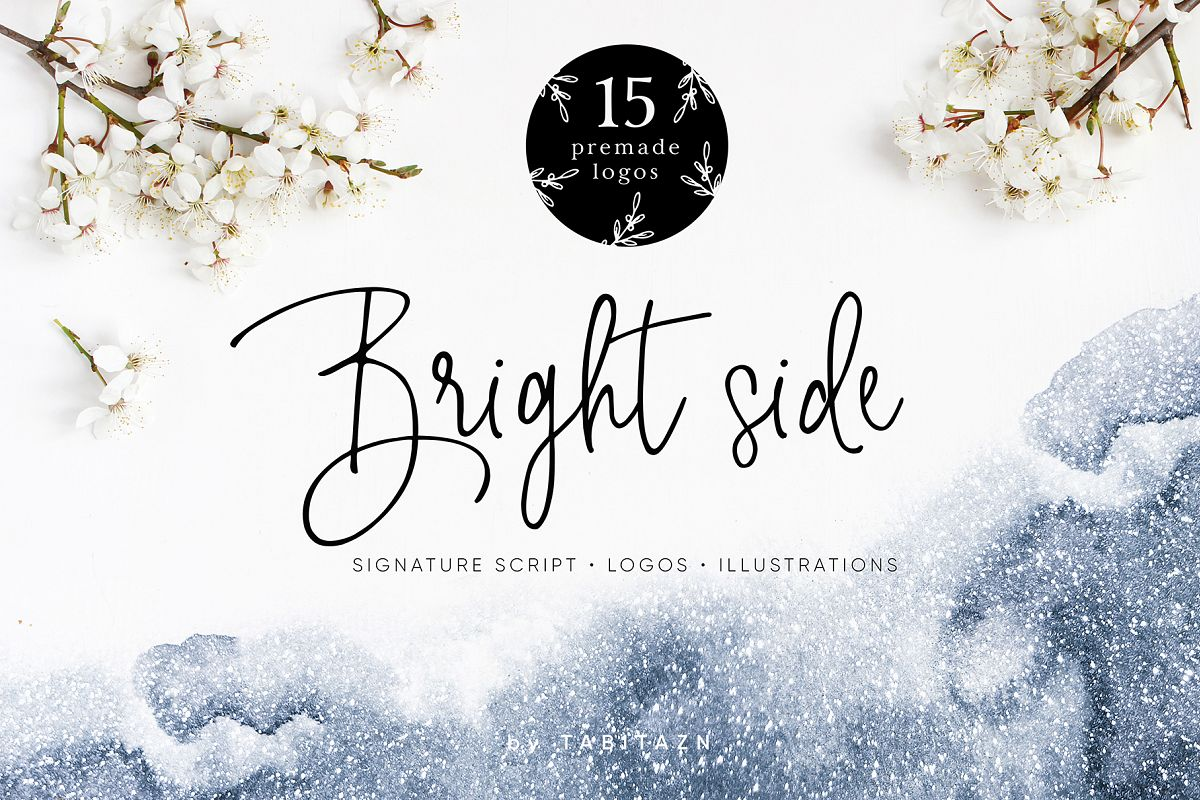 Bright side signature script font+ logos example image 1