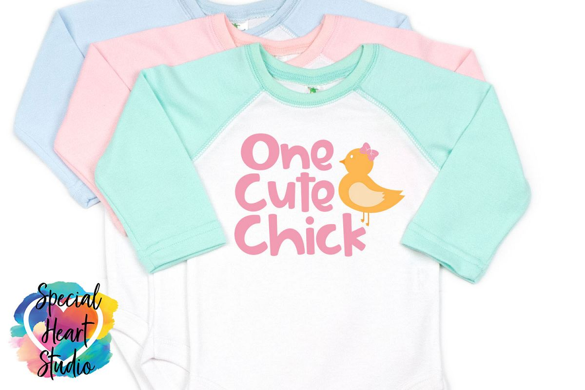 One Cute Chick- Easter SVG Girl Easter example image 1
