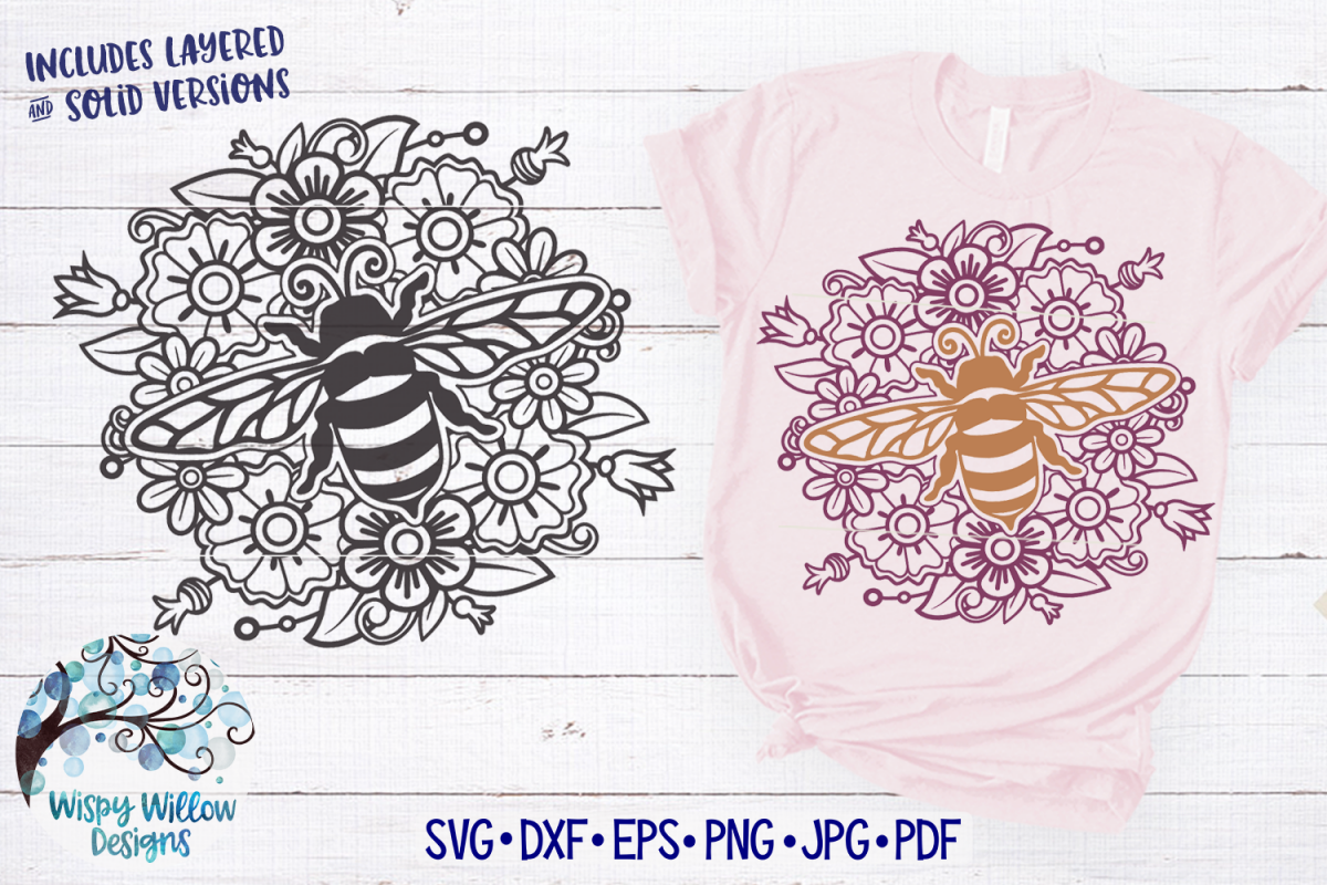 Bee Mandala SVG | Bee and Flower Zentangle SVG Cut File example image 1