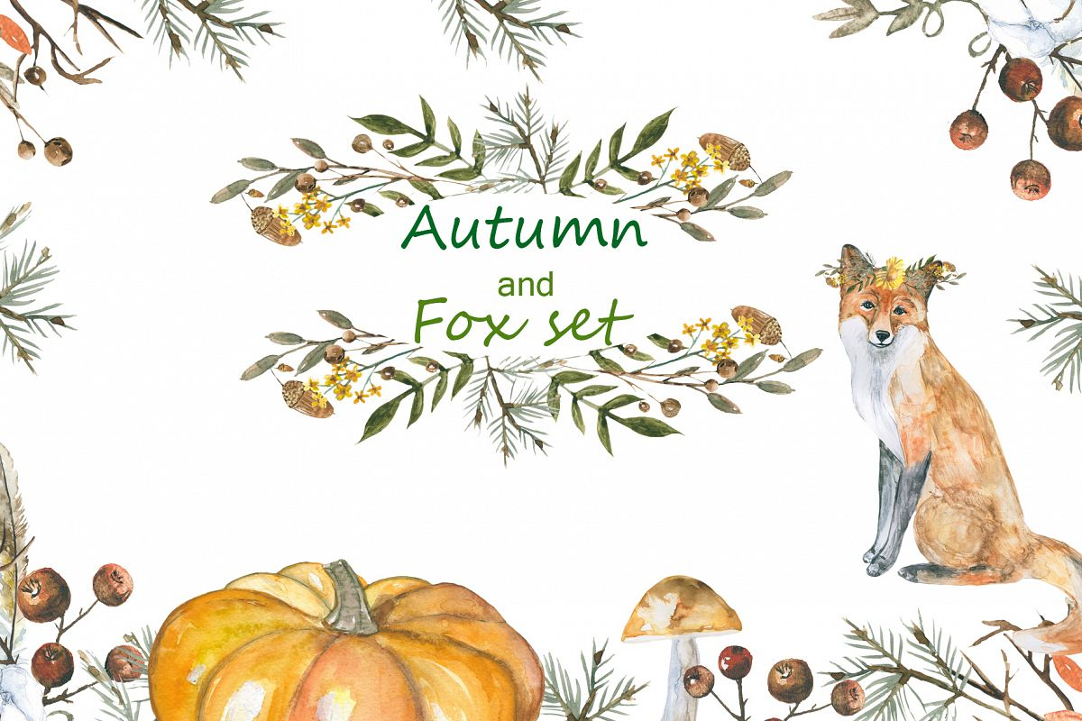 Autumn and foxes animals set example image 1