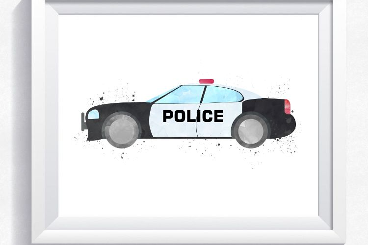 image relating to Police Car Printable called Law enforcement motor vehicle watercolor print, crisis printable, law enforcement wall artwork, law enforcement automobile print, law enforcement car print