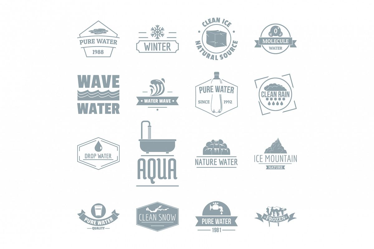 Water logo icons set, simple style example image 1