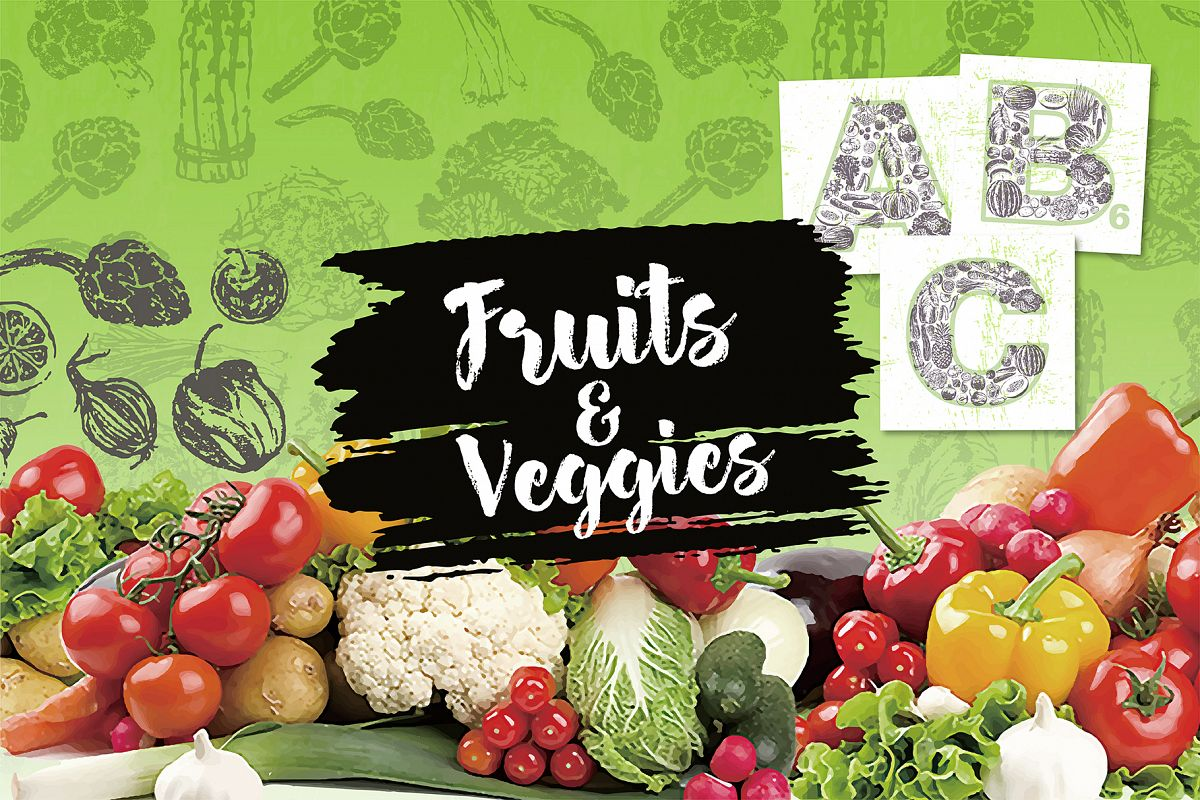 Fruits and Veggies Ink Drawings example image 1