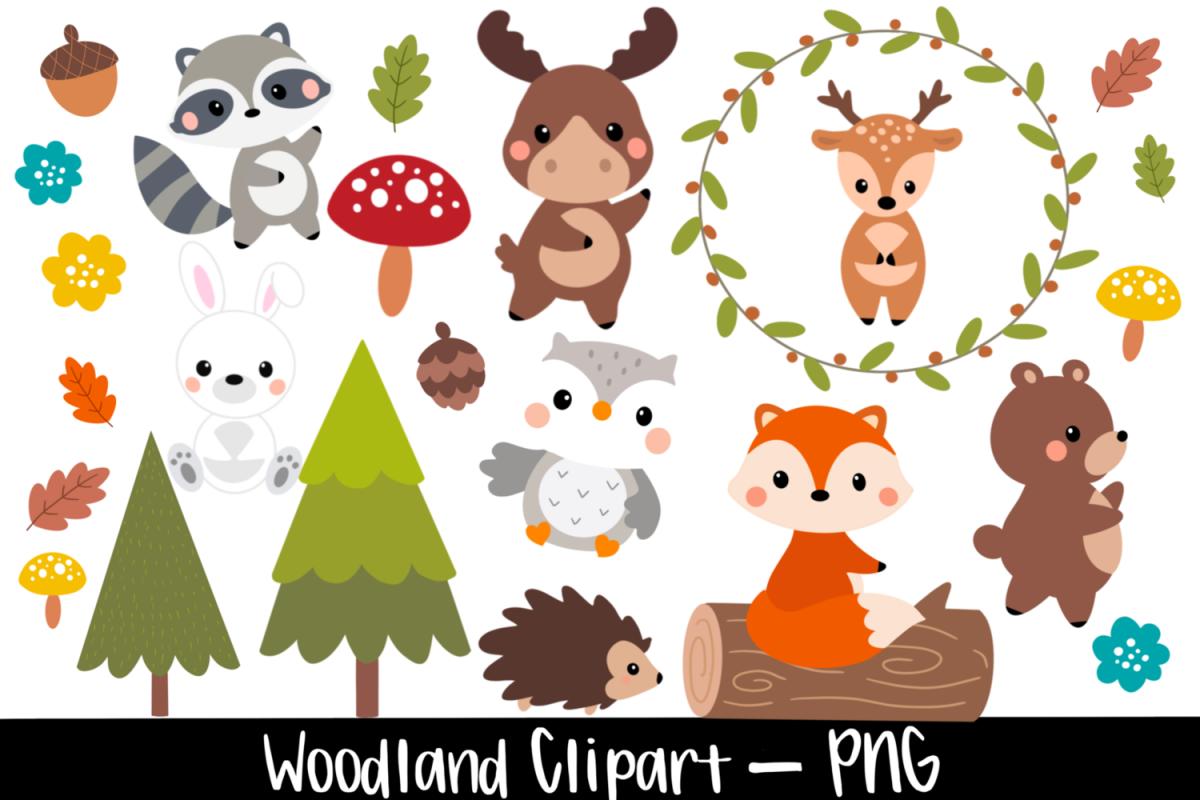 Woodland Baby Animal Watercolor Clipart Bundle example image 1