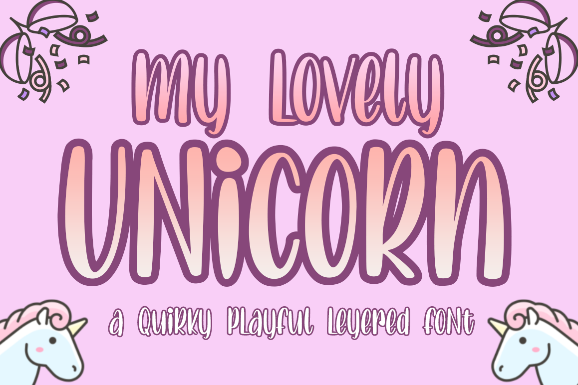 Lovely Unicorn the Quirky Playful Font example image 1