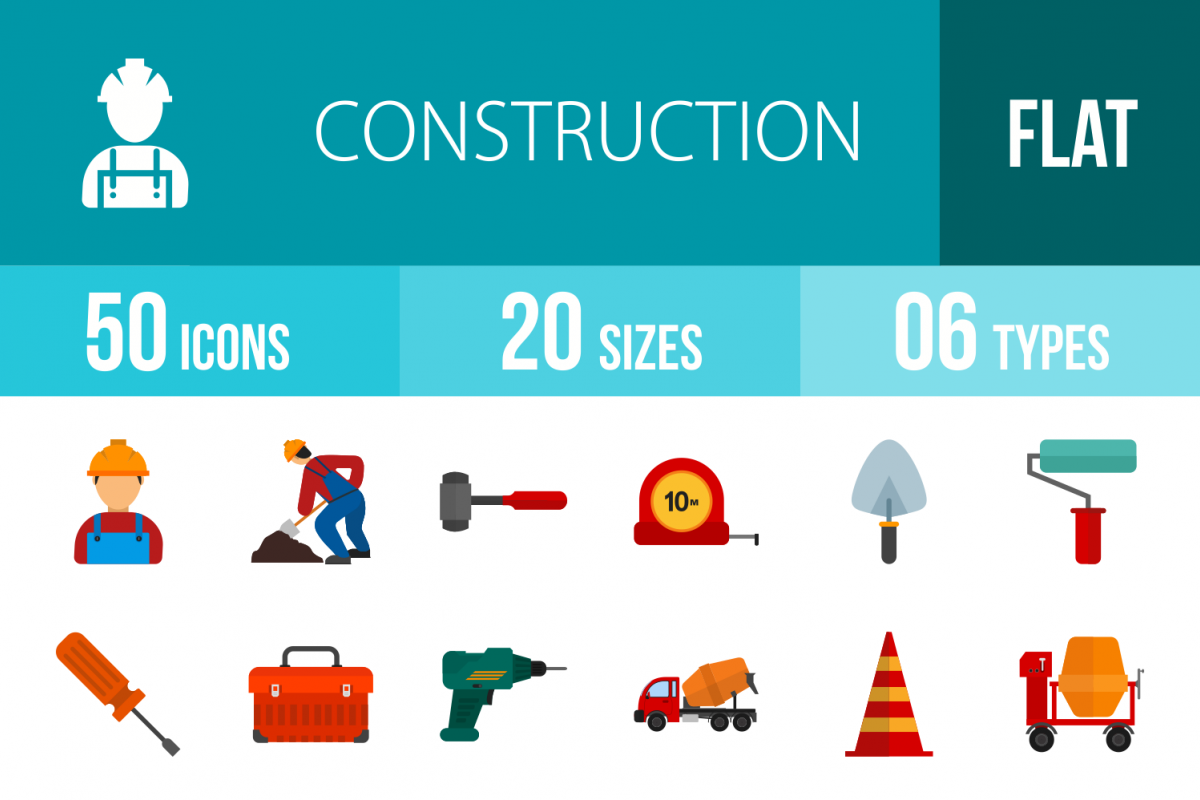 50 Construction Flat Multicolor Icons example image 1