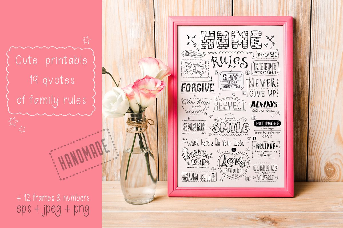 Family rules banner,cute poster example image 1
