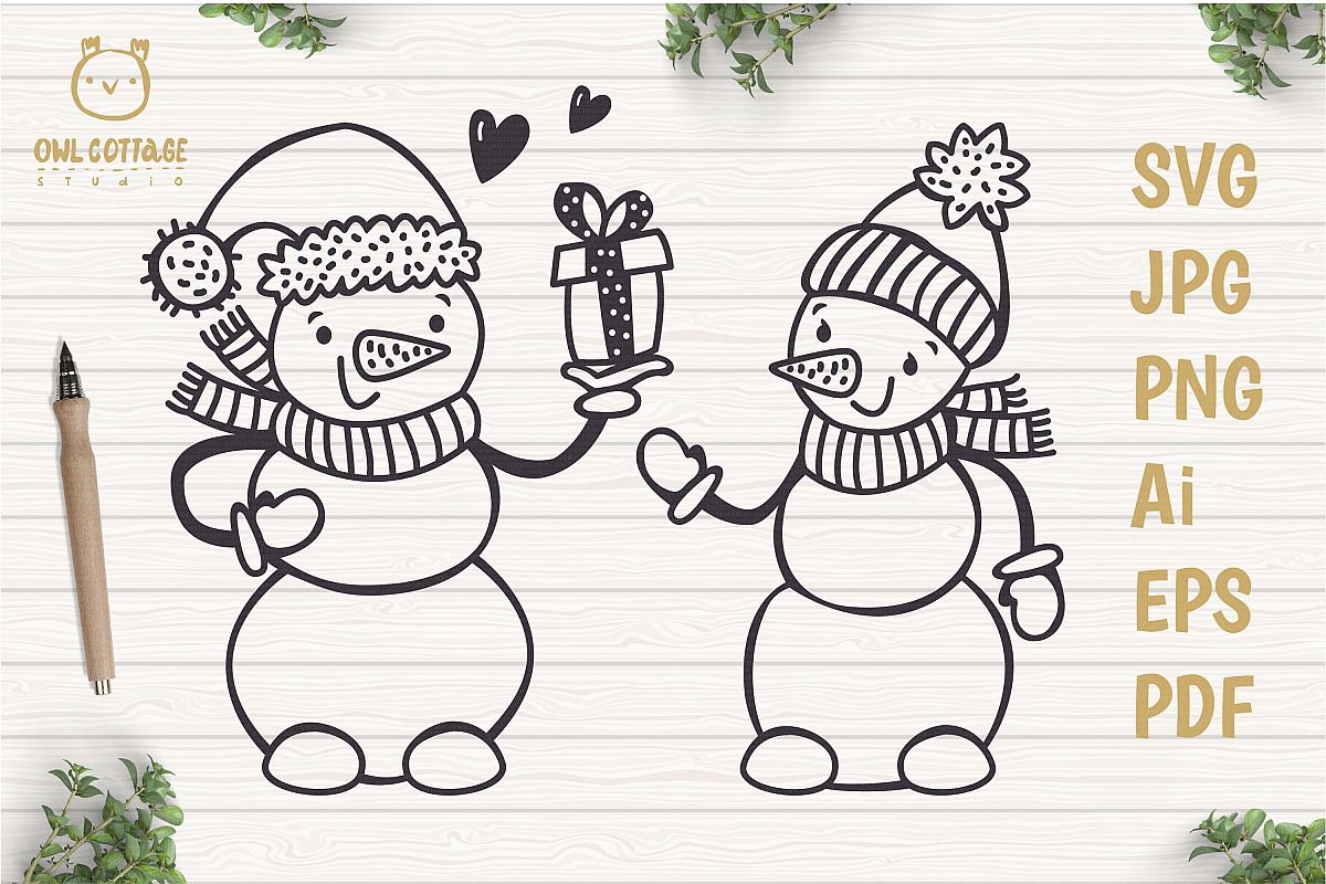 Valentine snowman, Snowman Holding gift Svg, Valentine's Day example image 1