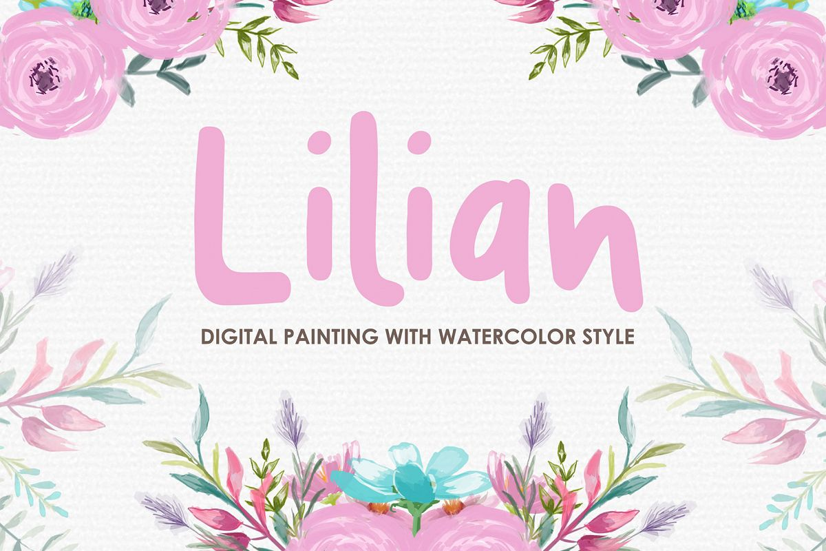 Lilian - Digital Watercolor Floral Flower Style Clipart example image 1