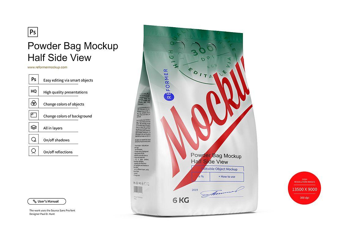 Powder Bag Mockup Half Side View example image 1